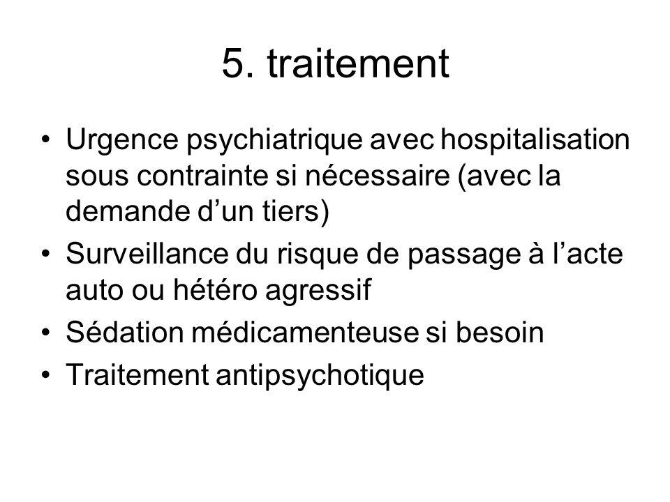 5. traitement Urgence psychiatrique avec hospitalisation sous contrainte si nécessaire (avec la demande d'un tiers)