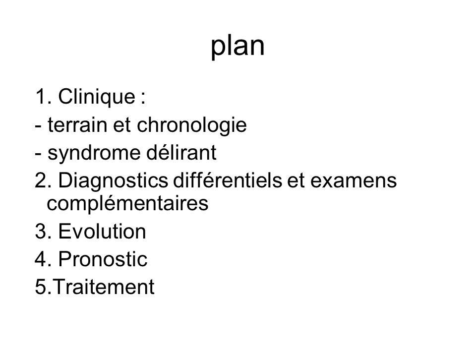 plan 1. Clinique : - terrain et chronologie - syndrome délirant