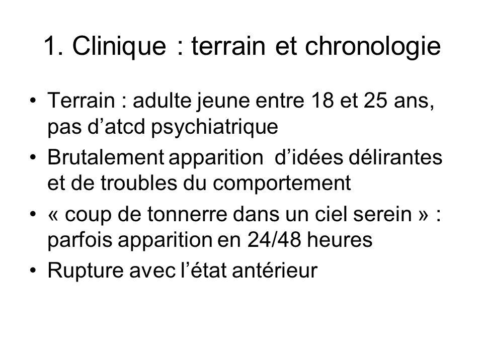 1. Clinique : terrain et chronologie