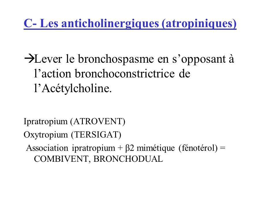 C- Les anticholinergiques (atropiniques)