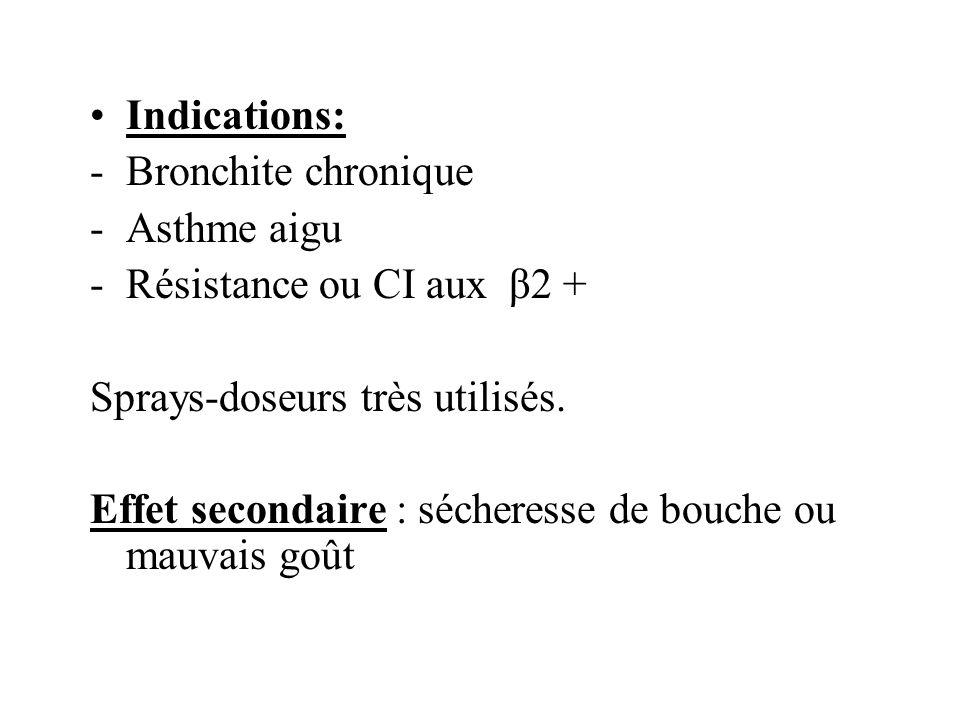 Indications: Bronchite chronique. Asthme aigu. Résistance ou CI aux β2 + Sprays-doseurs très utilisés.