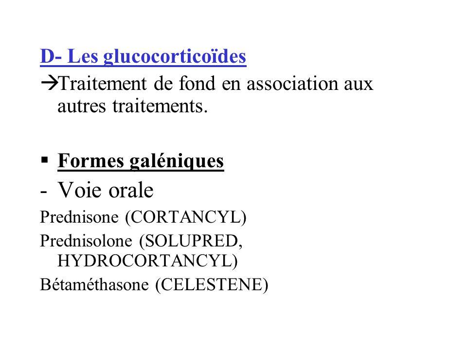 Voie orale D- Les glucocorticoïdes