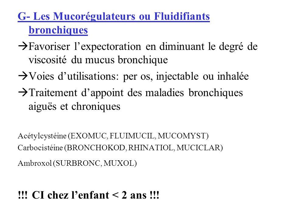 G- Les Mucorégulateurs ou Fluidifiants bronchiques