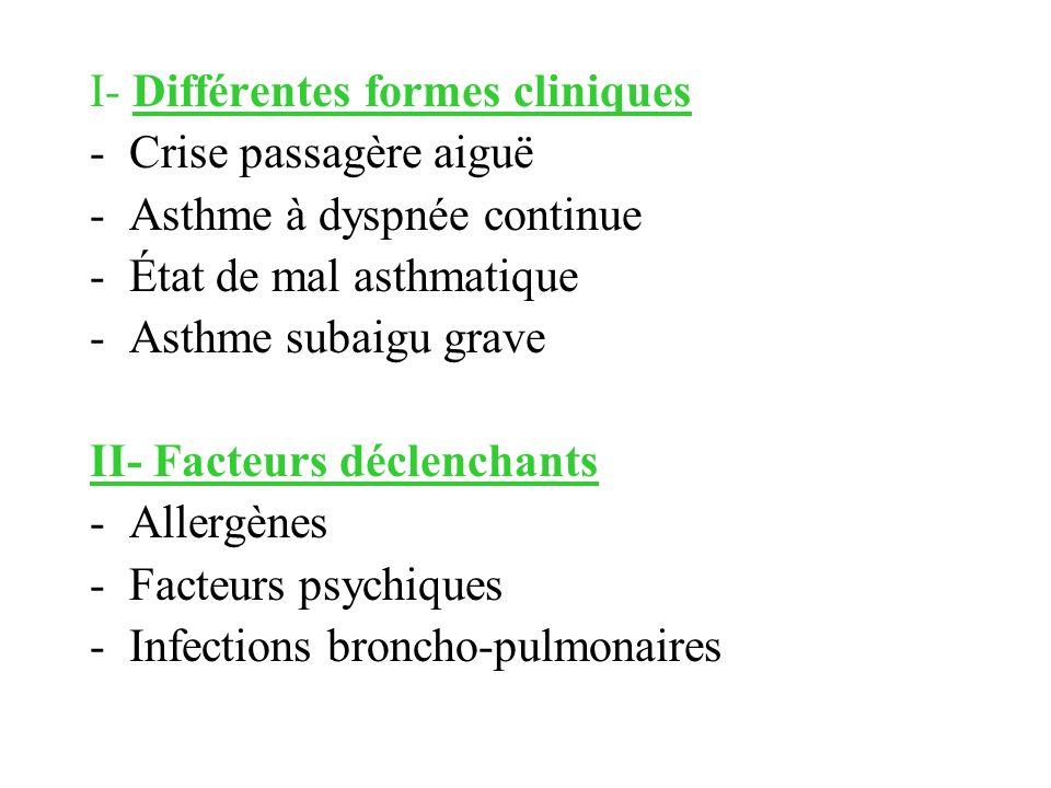 I- Différentes formes cliniques