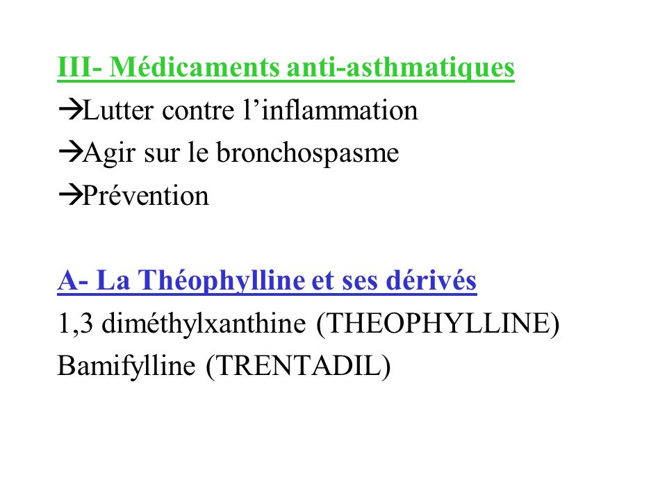 III- Médicaments anti-asthmatiques