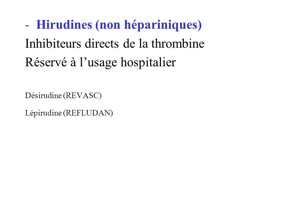 Hirudines (non hépariniques) Inhibiteurs directs de la thrombine