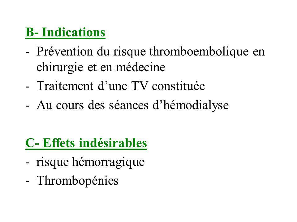 B- Indications Prévention du risque thromboembolique en chirurgie et en médecine. Traitement d'une TV constituée.