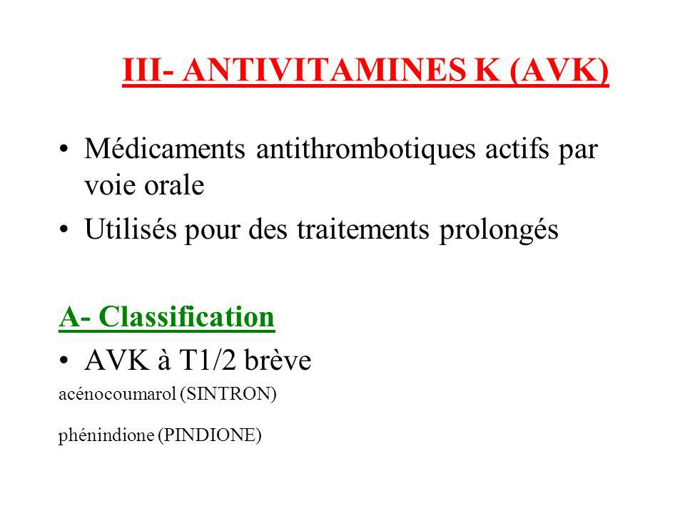 III- ANTIVITAMINES K (AVK)