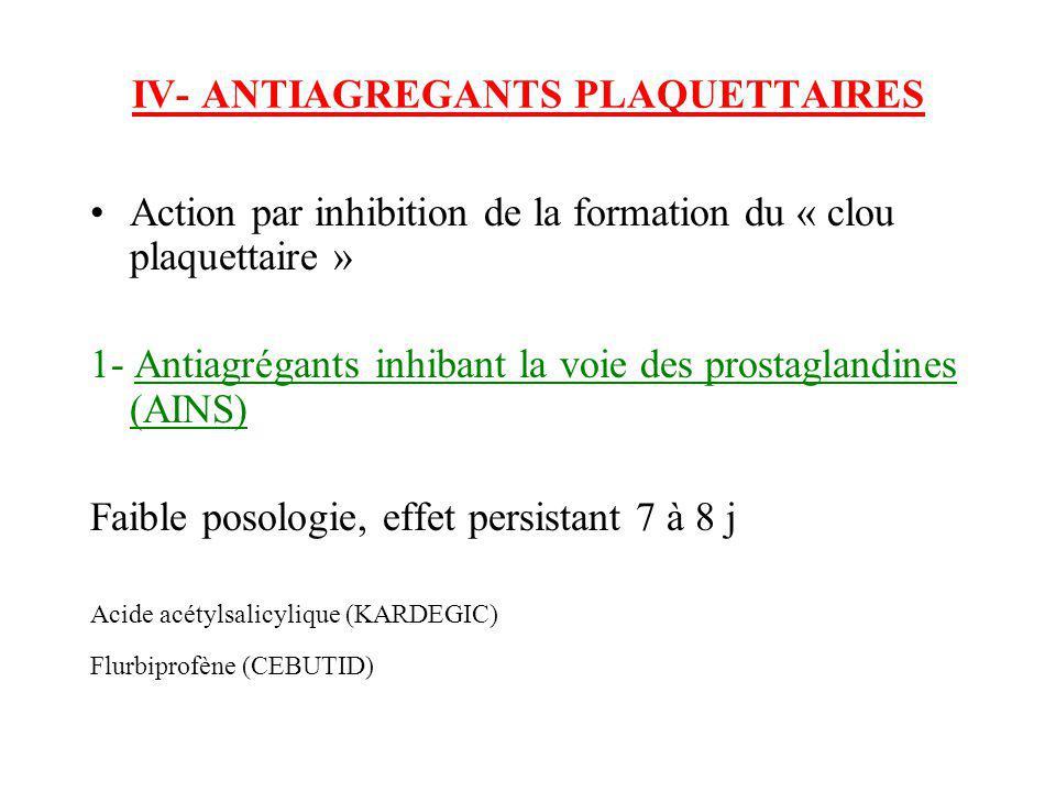 IV- ANTIAGREGANTS PLAQUETTAIRES