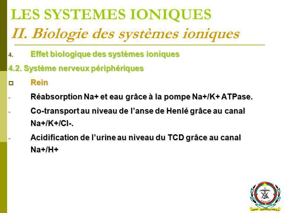 LES SYSTEMES IONIQUES II. Biologie des systèmes ioniques