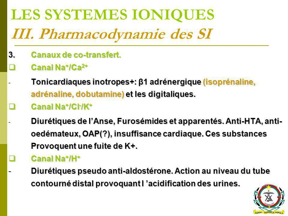 LES SYSTEMES IONIQUES III. Pharmacodynamie des SI