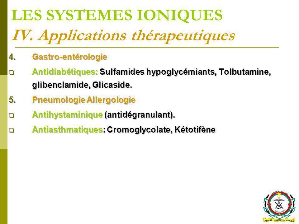 LES SYSTEMES IONIQUES IV. Applications thérapeutiques