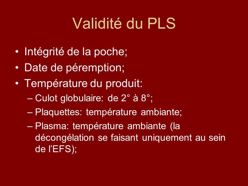 Validité du PLS Intégrité de la poche; Date de péremption;