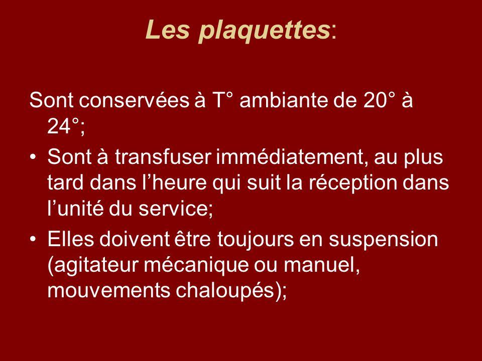 Les plaquettes: Sont conservées à T° ambiante de 20° à 24°;
