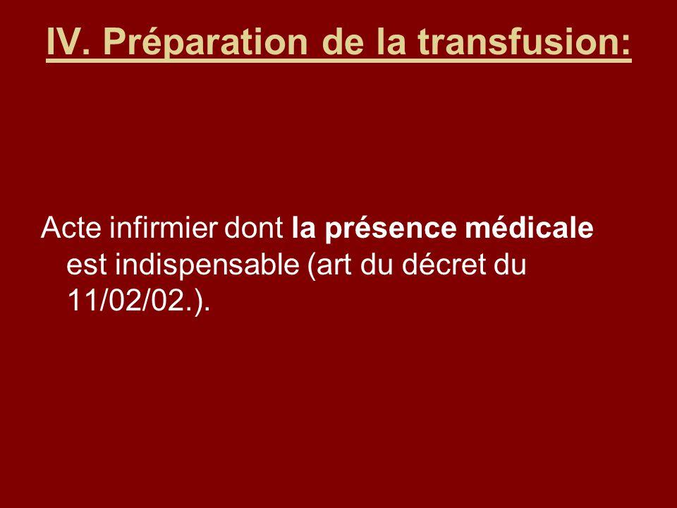 IV. Préparation de la transfusion: