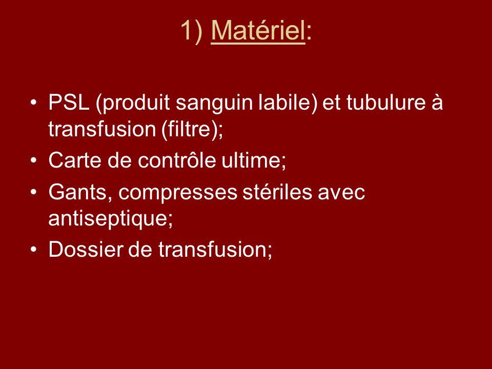 1) Matériel: PSL (produit sanguin labile) et tubulure à transfusion (filtre); Carte de contrôle ultime;