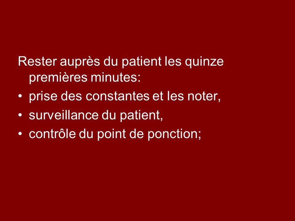Rester auprès du patient les quinze premières minutes: