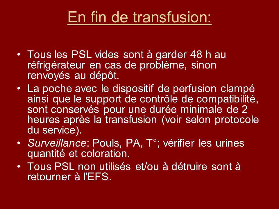 En fin de transfusion: Tous les PSL vides sont à garder 48 h au réfrigérateur en cas de problème, sinon renvoyés au dépôt.