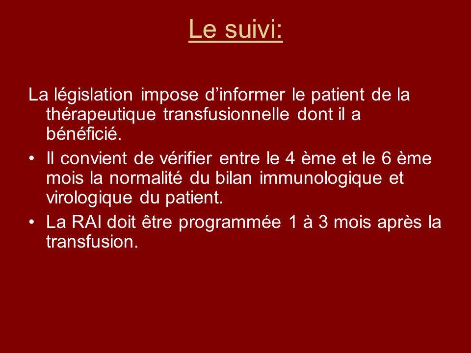 Le suivi: La législation impose d'informer le patient de la thérapeutique transfusionnelle dont il a bénéficié.