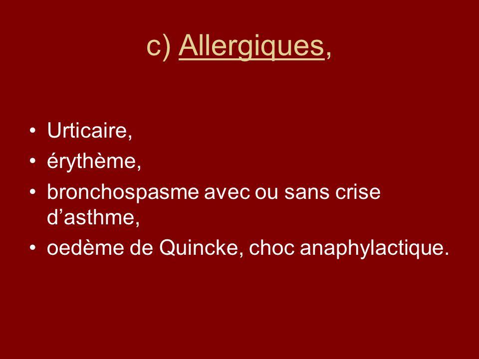 c) Allergiques, Urticaire, érythème,