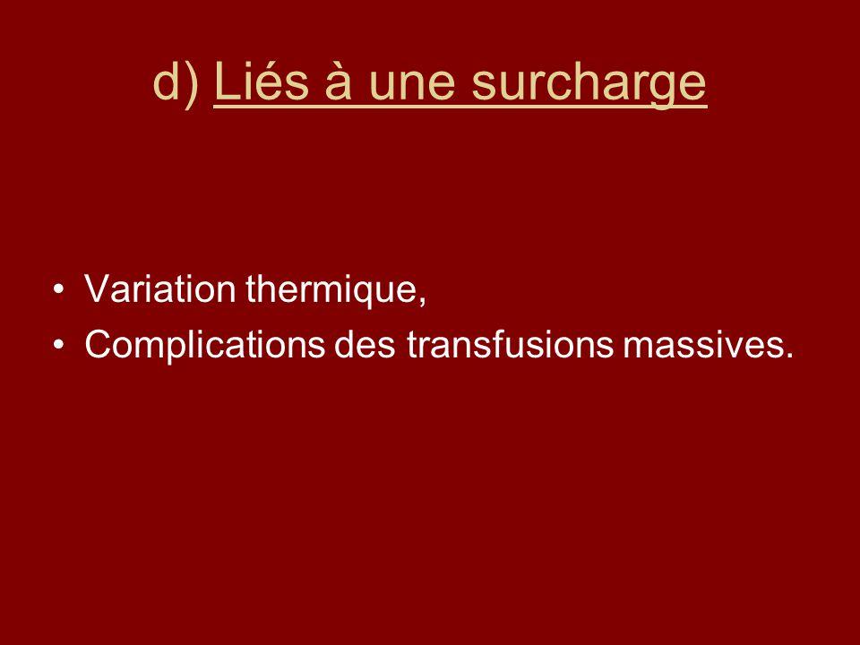 d) Liés à une surcharge Variation thermique,
