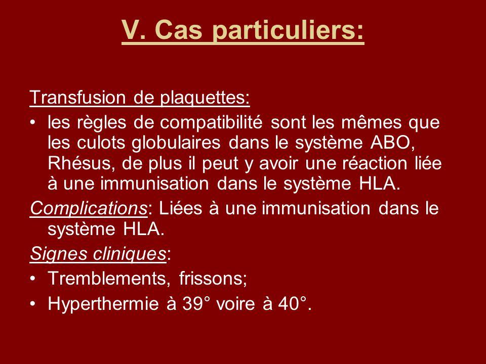 V. Cas particuliers: Transfusion de plaquettes: