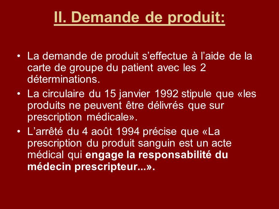II. Demande de produit: La demande de produit s'effectue à l'aide de la carte de groupe du patient avec les 2 déterminations.