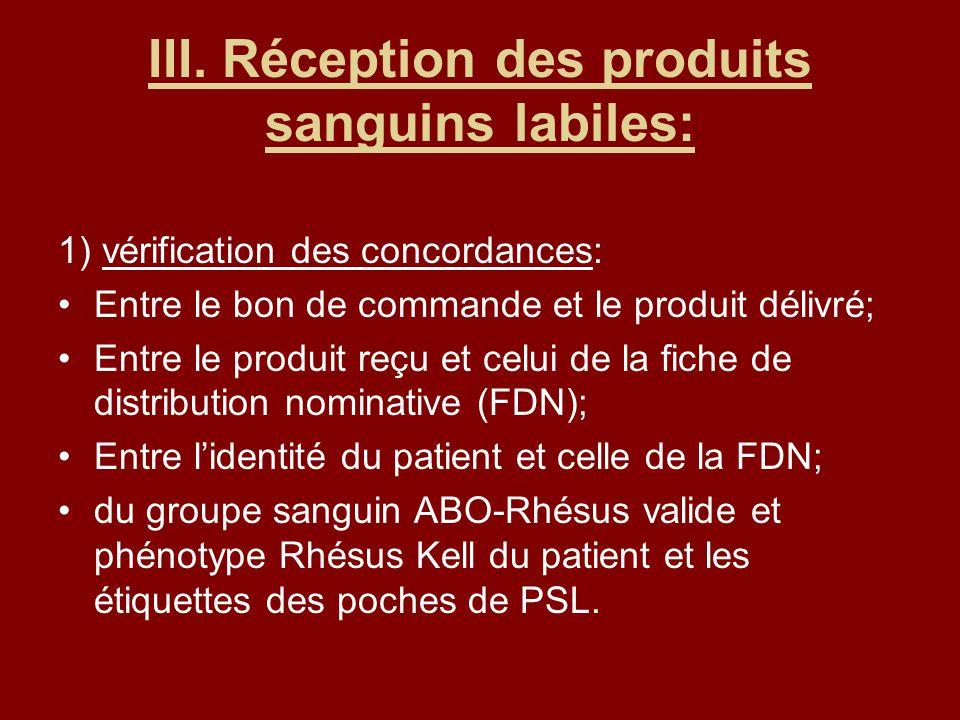 III. Réception des produits sanguins labiles: