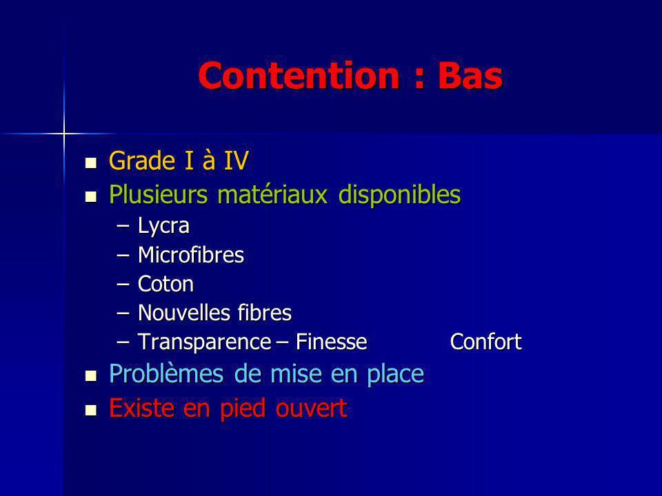 Contention : Bas Grade I à IV Plusieurs matériaux disponibles