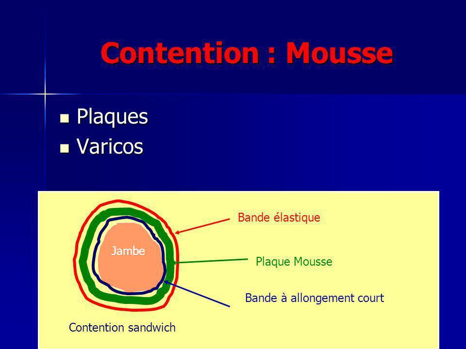 Contention : Mousse Plaques Varicos Bande élastique Jambe