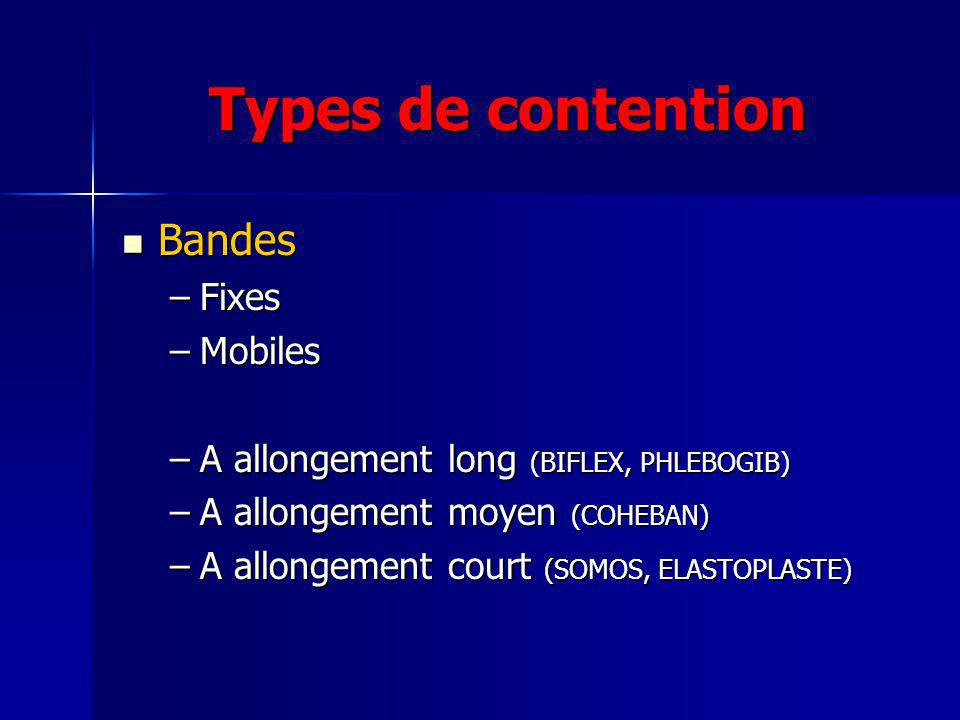 Types de contention Bandes Fixes Mobiles