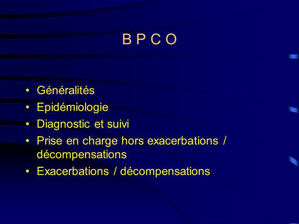 B P C O Généralités Epidémiologie Diagnostic et suivi