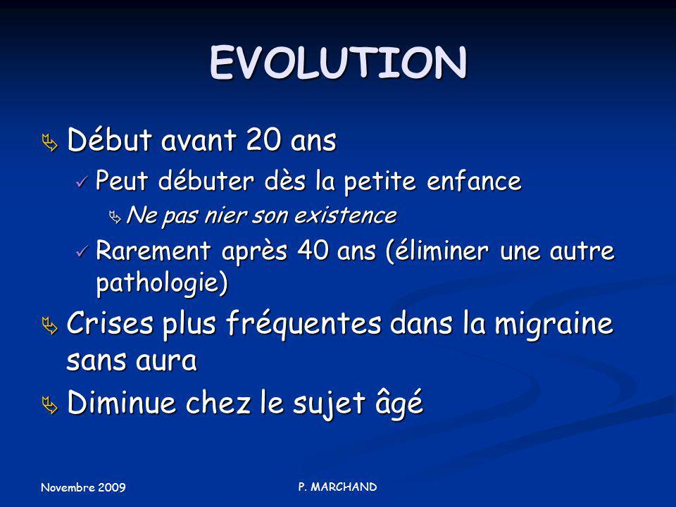 EVOLUTION Début avant 20 ans