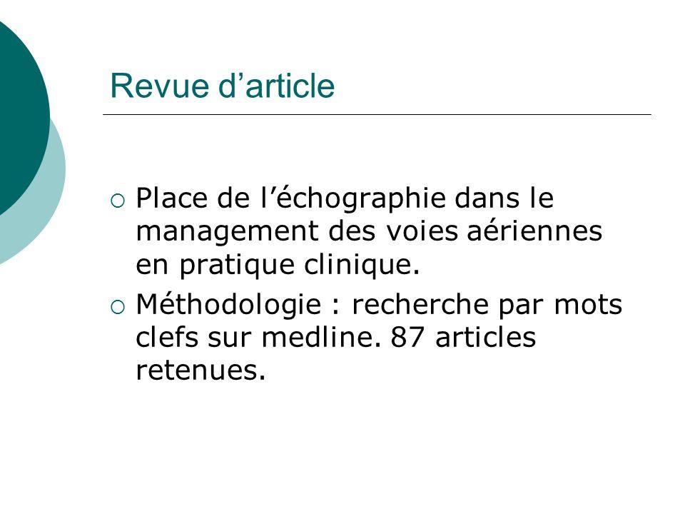 Revue d'article Place de l'échographie dans le management des voies aériennes en pratique clinique.