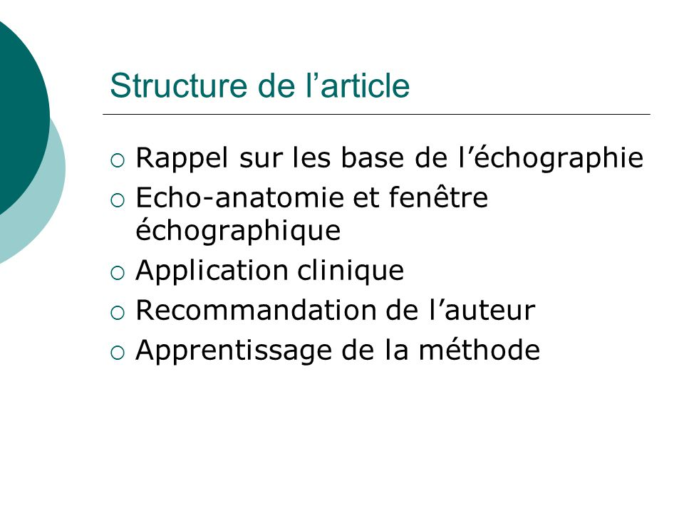 Structure de l'article