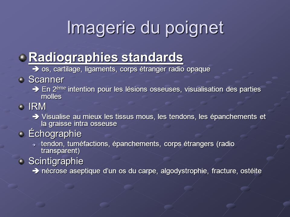 Imagerie du poignet Radiographies standards Scanner IRM Échographie