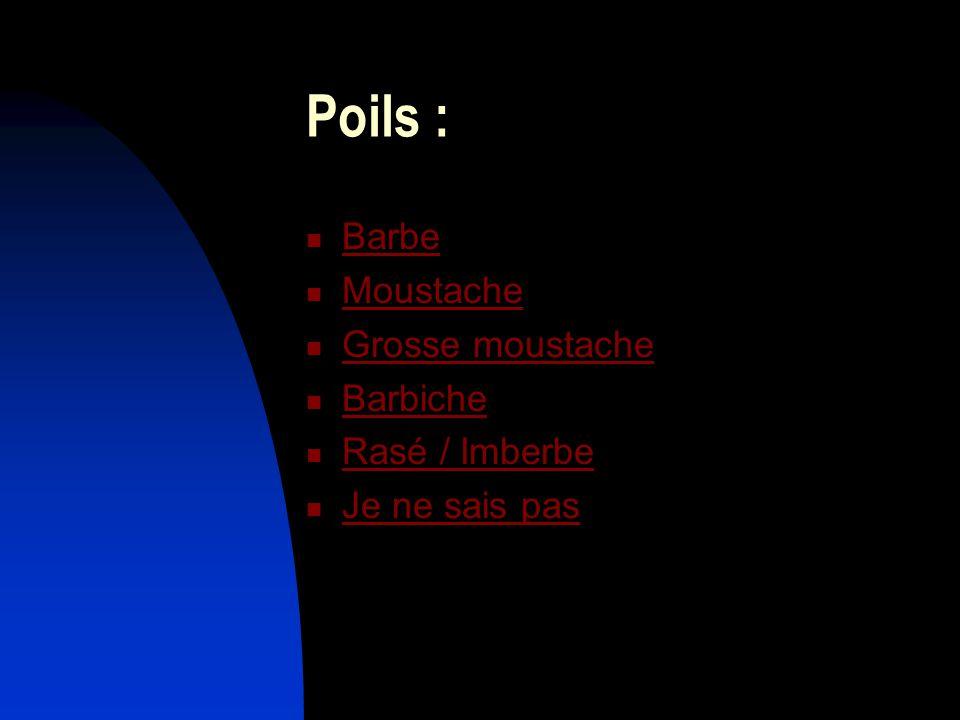 Poils : Barbe Moustache Grosse moustache Barbiche Rasé / Imberbe