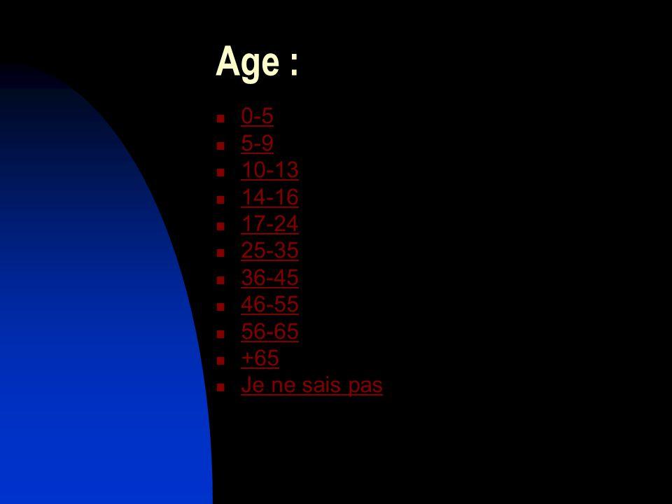 Age : 0-5 5-9 10-13 14-16 17-24 25-35 36-45 46-55 56-65 +65 Je ne sais pas