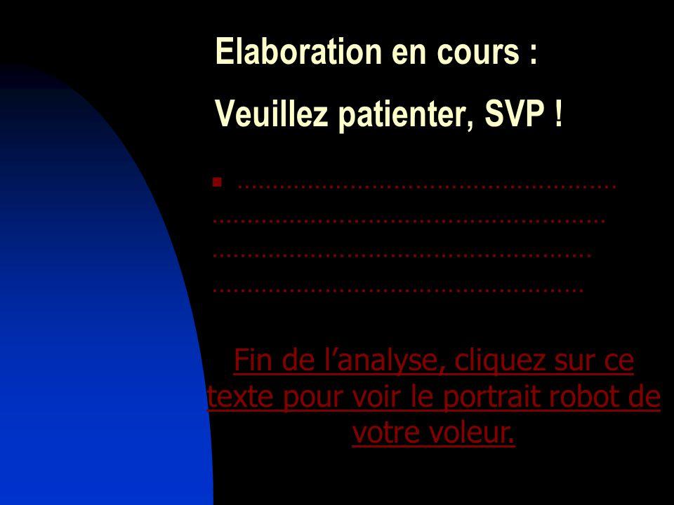 Elaboration en cours : Veuillez patienter, SVP !