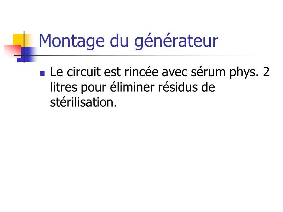 Montage du générateur Le circuit est rincée avec sérum phys.