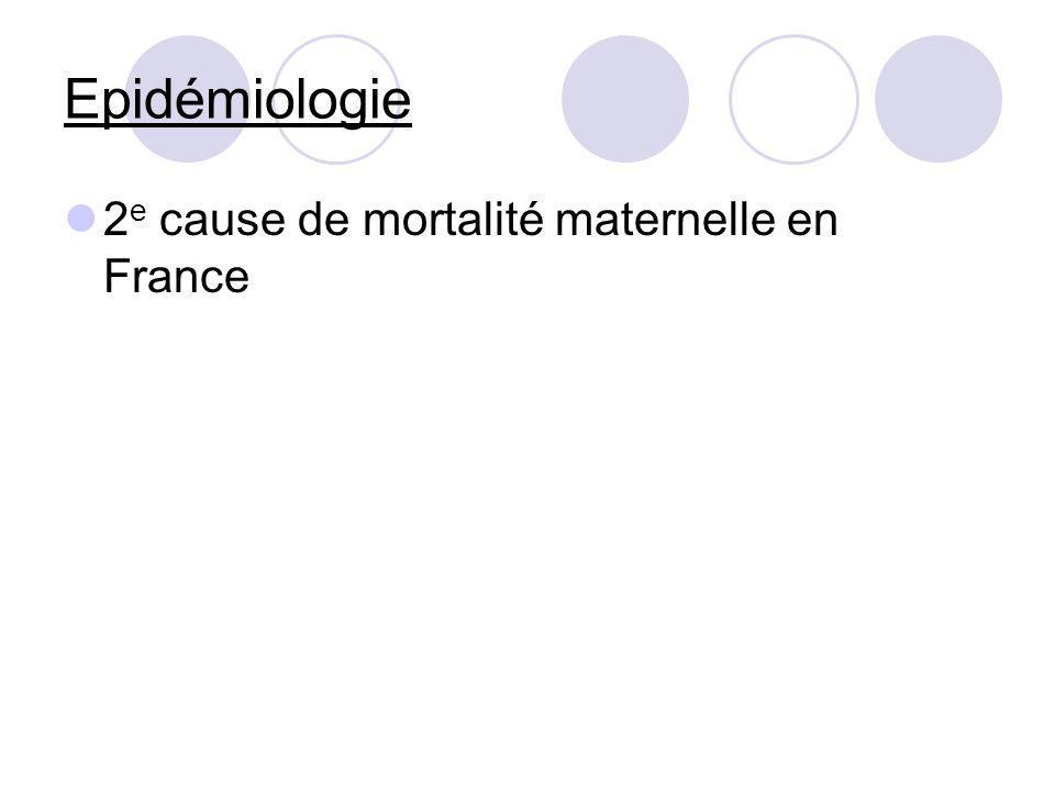 Epidémiologie 2e cause de mortalité maternelle en France