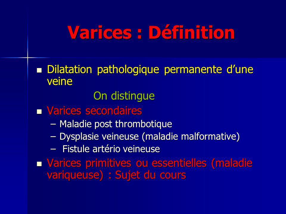 Varices : Définition Dilatation pathologique permanente d'une veine