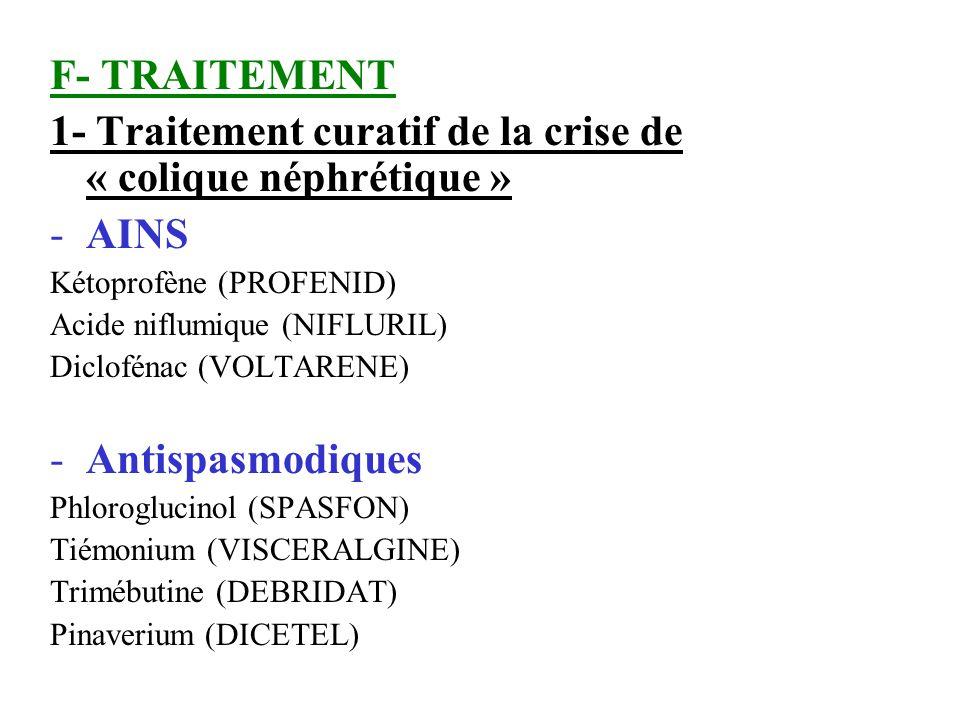 1- Traitement curatif de la crise de « colique néphrétique » AINS