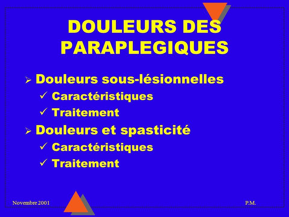 DOULEURS DES PARAPLEGIQUES