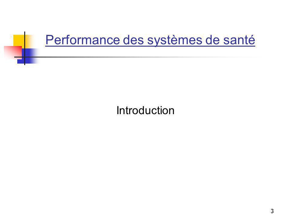 Performance des systèmes de santé