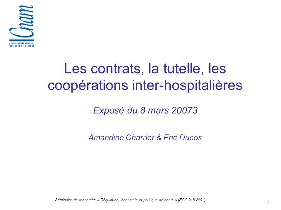 Les contrats, la tutelle, les coopérations inter-hospitalières Exposé du 8 mars 20073 Amandine Charrier & Eric Ducos