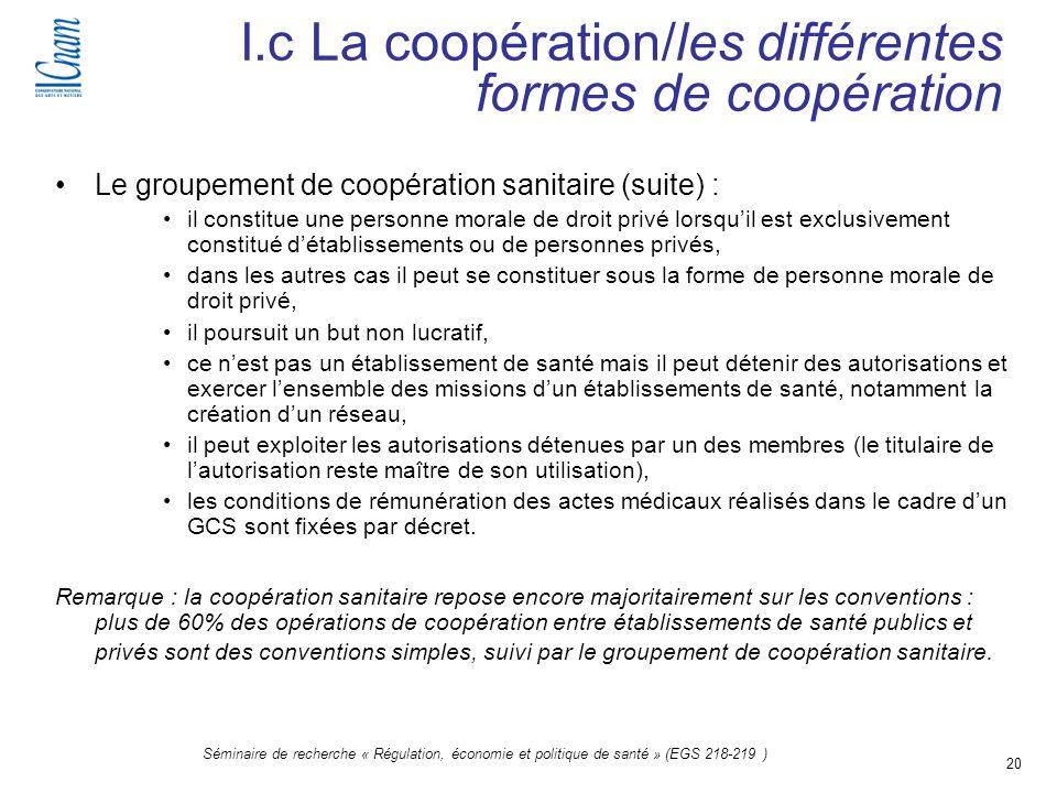 I.c La coopération/les différentes formes de coopération