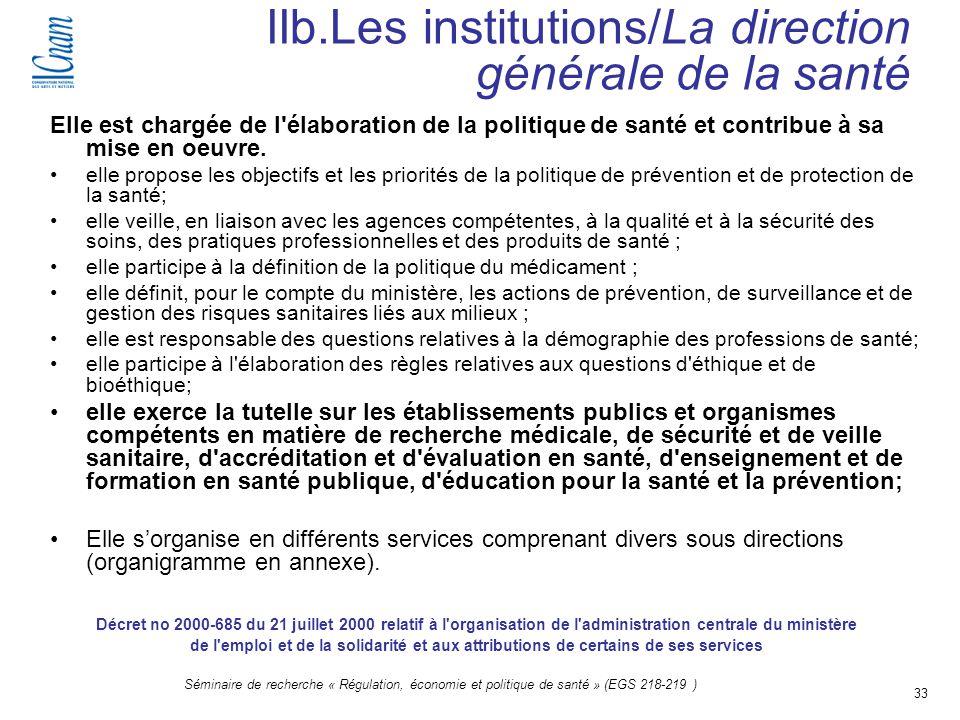 IIb.Les institutions/La direction générale de la santé