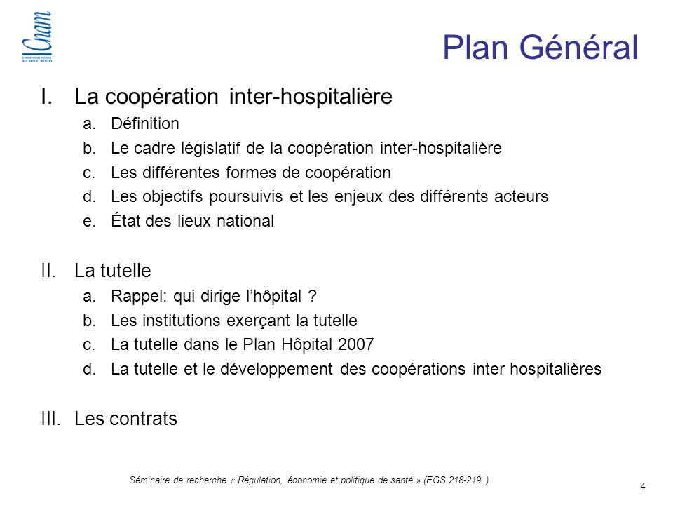 Plan Général La coopération inter-hospitalière La tutelle Les contrats