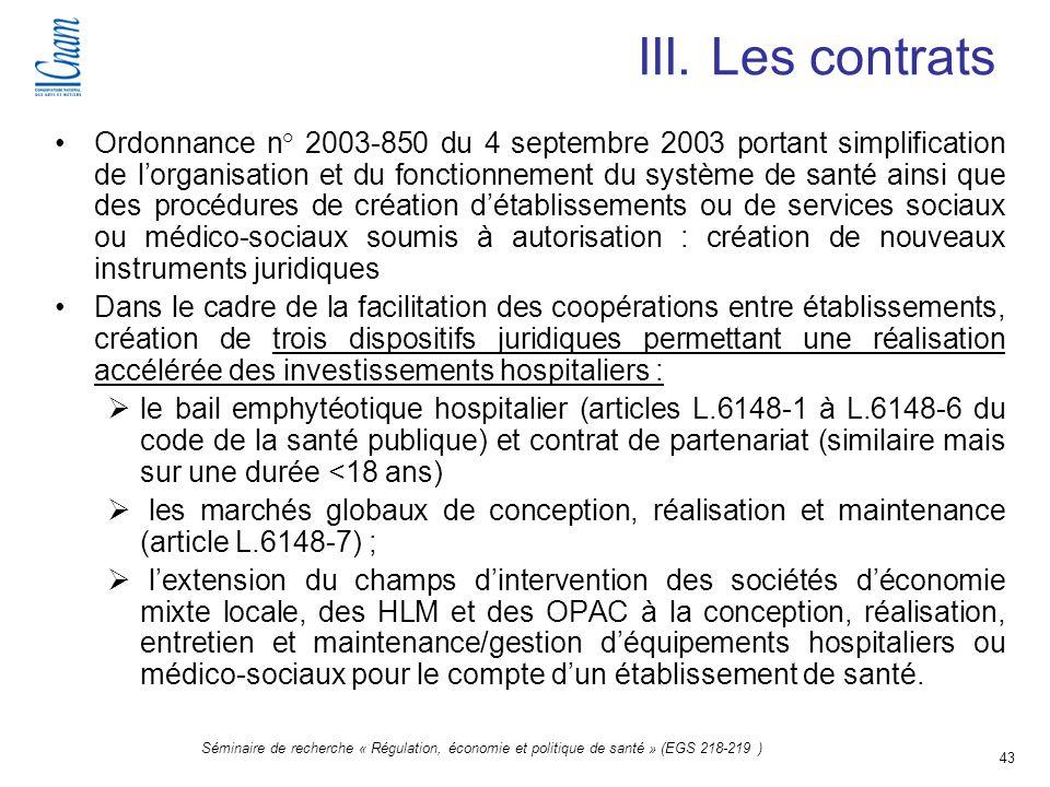 III. Les contrats
